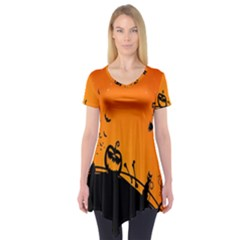 Halloween Day Short Sleeve Tunic  by Jojostore