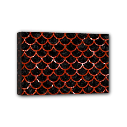 Scales1 Black Marble & Red Marble Mini Canvas 6  X 4  (stretched) by trendistuff