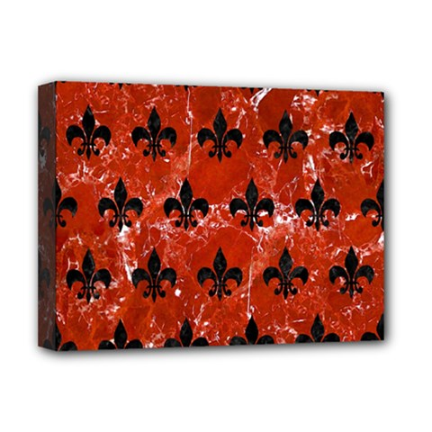 Royal1 Black Marble & Red Marble Deluxe Canvas 16  X 12  (stretched)  by trendistuff