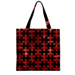 Puzzle1 Black Marble & Red Marble Zipper Grocery Tote Bag by trendistuff