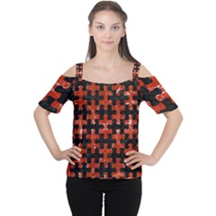 Puzzle1 Black Marble & Red Marble Cutout Shoulder Tee by trendistuff