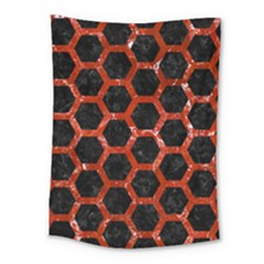 Hexagon2 Black Marble & Red Marble Medium Tapestry