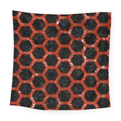 Hexagon2 Black Marble & Red Marble Square Tapestry (large)