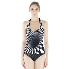 Optical Illusions Halter Swimsuit by Jojostore
