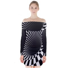 Optical Illusions Long Sleeve Off Shoulder Dress