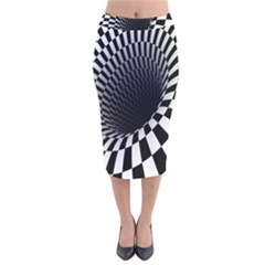Optical Illusions Velvet Midi Pencil Skirt