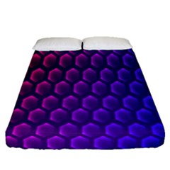 Outstanding Hexagon Blue Purple Fitted Sheet (queen Size)