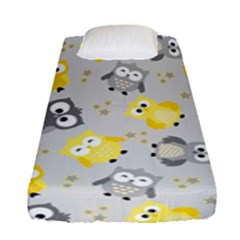 Owl Bird Yellow Animals Fitted Sheet (single Size) by Jojostore