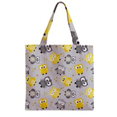 Owl Bird Yellow Animals Zipper Grocery Tote Bag by Jojostore