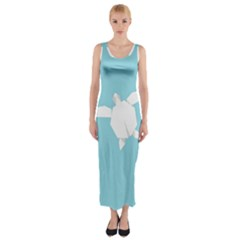 Pet Turtle Paper Origami Fitted Maxi Dress