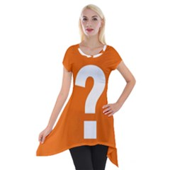Question Mark Short Sleeve Side Drop Tunic