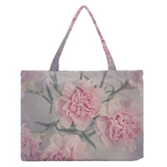 Cloves Flowers Pink Carnation Pink Medium Zipper Tote Bag by Amaryn4rt