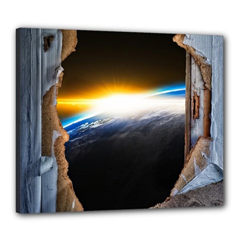Door Breakthrough Door Sunburst Canvas 24  X 20  by Amaryn4rt