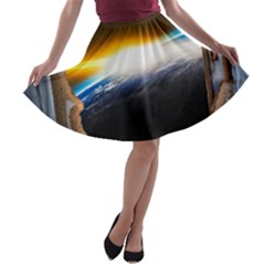 Door Breakthrough Door Sunburst A Line Skater Skirt by Amaryn4rt