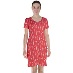 Red Alphabet Short Sleeve Nightdress by Jojostore