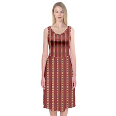 Pattern Background Red Stripes Midi Sleeveless Dress by Amaryn4rt