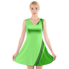 Simple Green V Neck Sleeveless Skater Dress by Jojostore