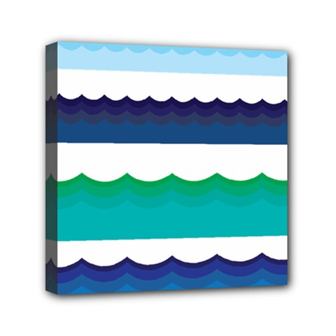 Water Border Water Waves Ocean Sea Mini Canvas 6  X 6