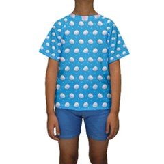 Seamless Fluffy Cloudy And Sky Kids  Short Sleeve Swimwear
