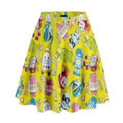 Robot Cartoons High Waist Skirt