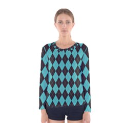 Tumblr Static Argyle Pattern Blue Black Women s Long Sleeve Tee by Jojostore