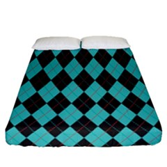 Tumblr Static Argyle Pattern Blue Black Fitted Sheet (queen Size)