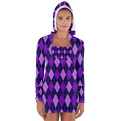 Tumblr Static Argyle Pattern Blue Purple Women s Long Sleeve Hooded T Shirt