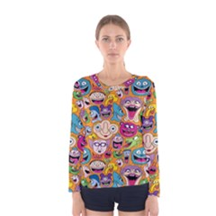 Smiley Pattern Women s Long Sleeve Tee by Jojostore