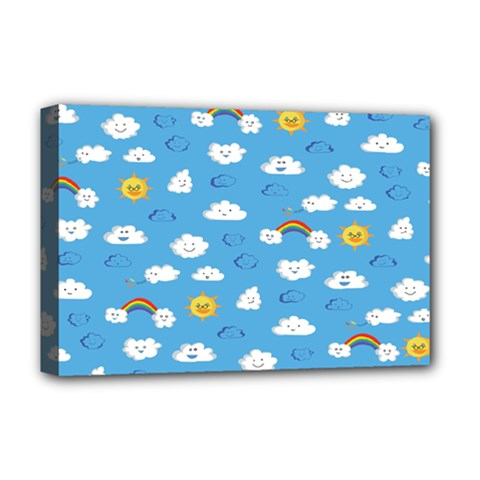 White Clouds Deluxe Canvas 18  X 12   by Jojostore