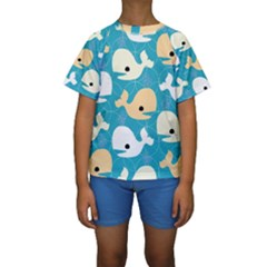 Whole Sea Animals Kids  Short Sleeve Swimwear