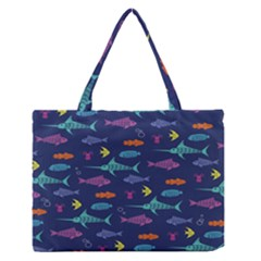 Twiddy Tropical Fish Pattern Medium Zipper Tote Bag by Jojostore