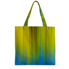 Yellow Blue Green Zipper Grocery Tote Bag by Jojostore