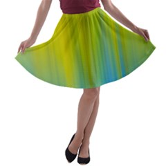Yellow Blue Green A Line Skater Skirt