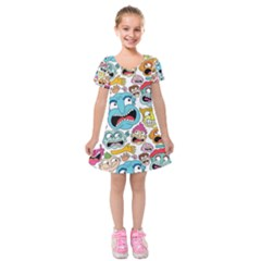 Weird Faces Pattern Kids  Short Sleeve Velvet Dress
