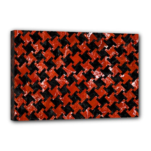 Houndstooth2 Black Marble & Red Marble Canvas 18  X 12  (stretched) by trendistuff