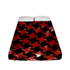Houndstooth2 Black Marble & Red Marble Fitted Sheet (full/ Double Size)