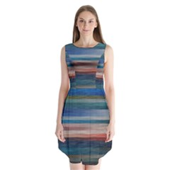Background Horizontal Lines Sleeveless Chiffon Dress