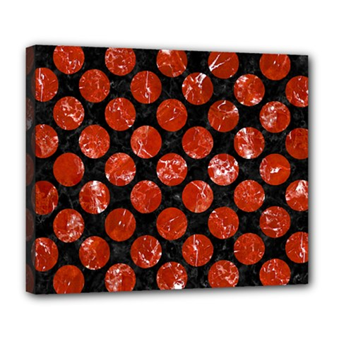 Circles2 Black Marble & Red Marble Deluxe Canvas 24  X 20  (stretched) by trendistuff