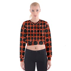 Circles1 Black Marble & Red Marble (r) Cropped Sweatshirt