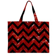 Chevron9 Black Marble & Red Marble (r) Zipper Mini Tote Bag by trendistuff