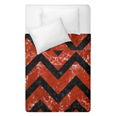 Chevron9 Black Marble & Red Marble (r) Duvet Cover Double Side (single Size) by trendistuff