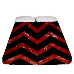 Chevron9 Black Marble & Red Marble Fitted Sheet (queen Size)