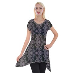 Line Geometry Pattern Geometric Short Sleeve Side Drop Tunic by Amaryn4rt
