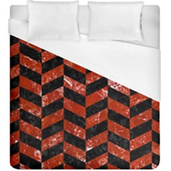 Chevron1 Black Marble & Red Marble Duvet Cover (king Size)