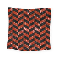Chevron1 Black Marble & Red Marble Square Tapestry (small) by trendistuff