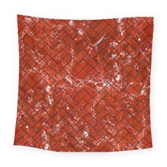 Brick2 Black Marble & Red Marble (r) Square Tapestry (large)
