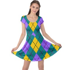Texture Background Argyle Teal Cap Sleeve Dresses by Jojostore