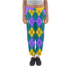 Texture Background Argyle Teal Women s Jogger Sweatpants by Jojostore