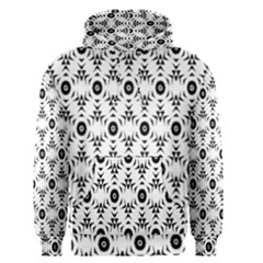 Black White Flower Men s Pullover Hoodie