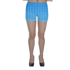 Blue Stars Background Line Skinny Shorts by Jojostore